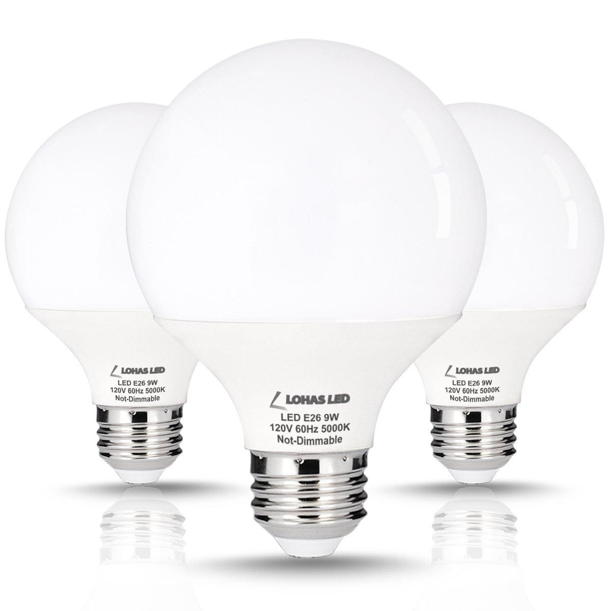 3 Pack Lohas 9 Watt Led Globe Bulb G25 Led Bulbs 60watt Vanity Light Bulbs Equivalent Led Light Bulb Daylight 5000k Medium Screw Base E26