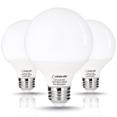 3 Pack LOHAS 9 Watt LED Globe Bulb, G25 LED Bulbs, 60Watt Vanity Light Bulbs Equivalent, LED Light Bulb Daylight 5000k, Medium Screw Base (E26)