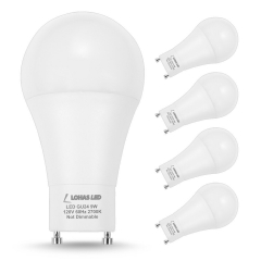 LOHAS GU24 base LED Bulb, A19 60 Watt Equivalent, 9Watt, Warm White 2700K, 810LM, 240 Degree Beam Angle (Pack of 4)