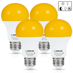 LOHAS LED Dusk to Dawn Sensor Light Bulb, 40W Equivalent A19 Yellow LED Bulbs 2000K, E26 Base, Auto on/off, 500 Lumens, Non-Dimmable(4 Pack)
