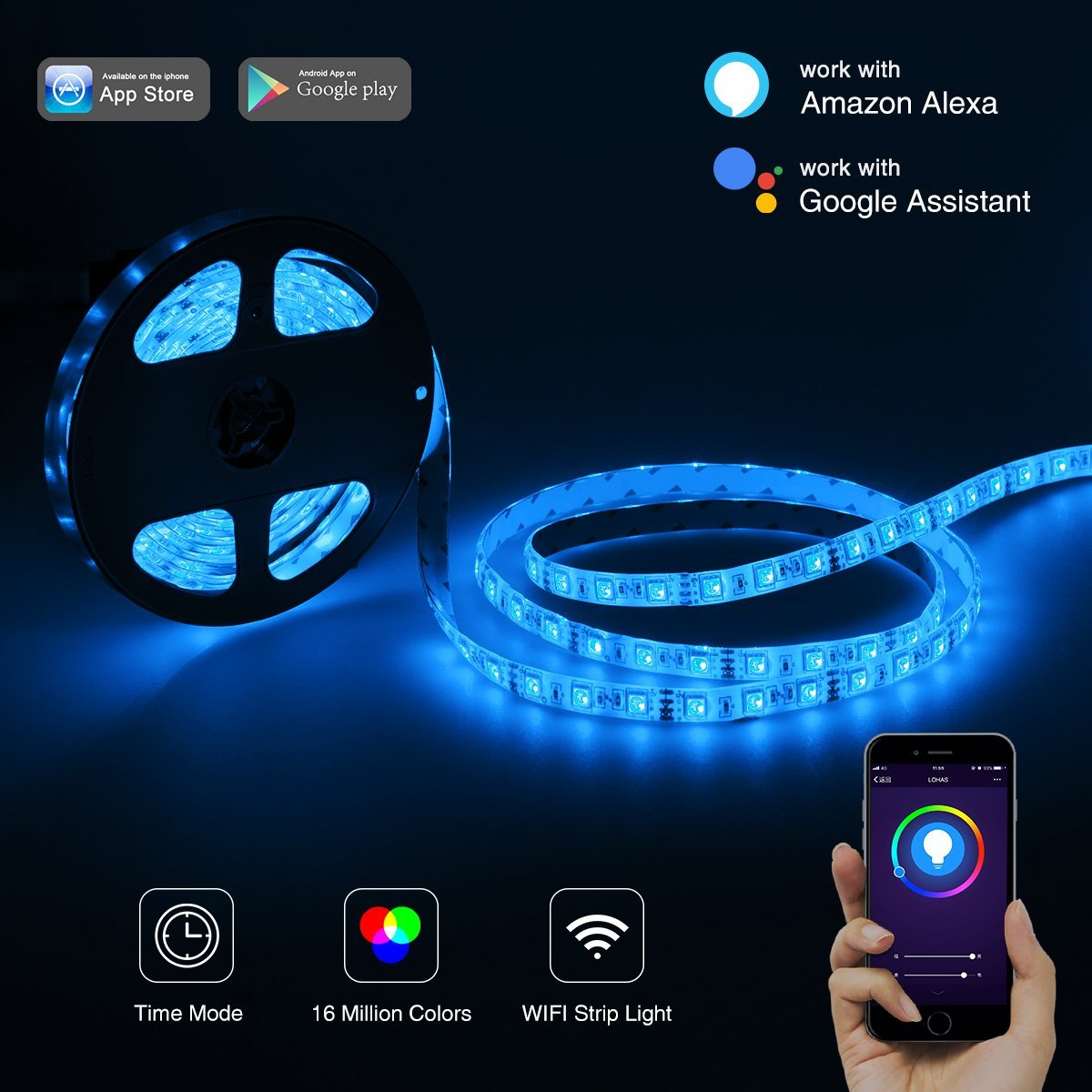 G4 Led Bulb >> LOHAS WIFI LED Strip Lights, Work with Amazon Aleax, Multicolored, 16.4FT, Smart Phone Control ...