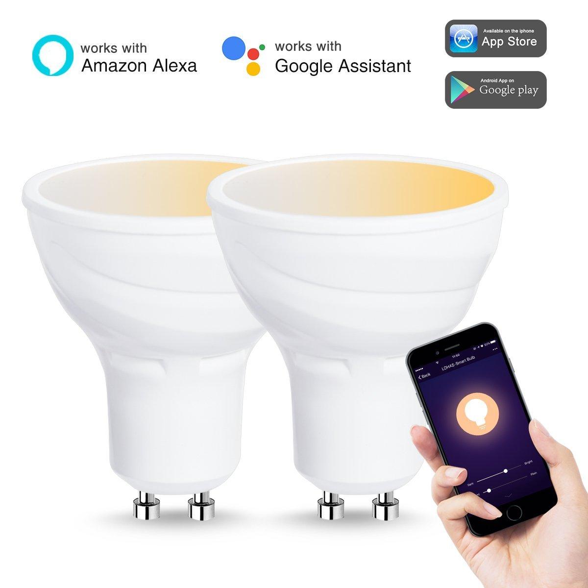 lohas smart light bulb led gu10 base wifi light tunable white 2000k 6500k work with amazon. Black Bedroom Furniture Sets. Home Design Ideas