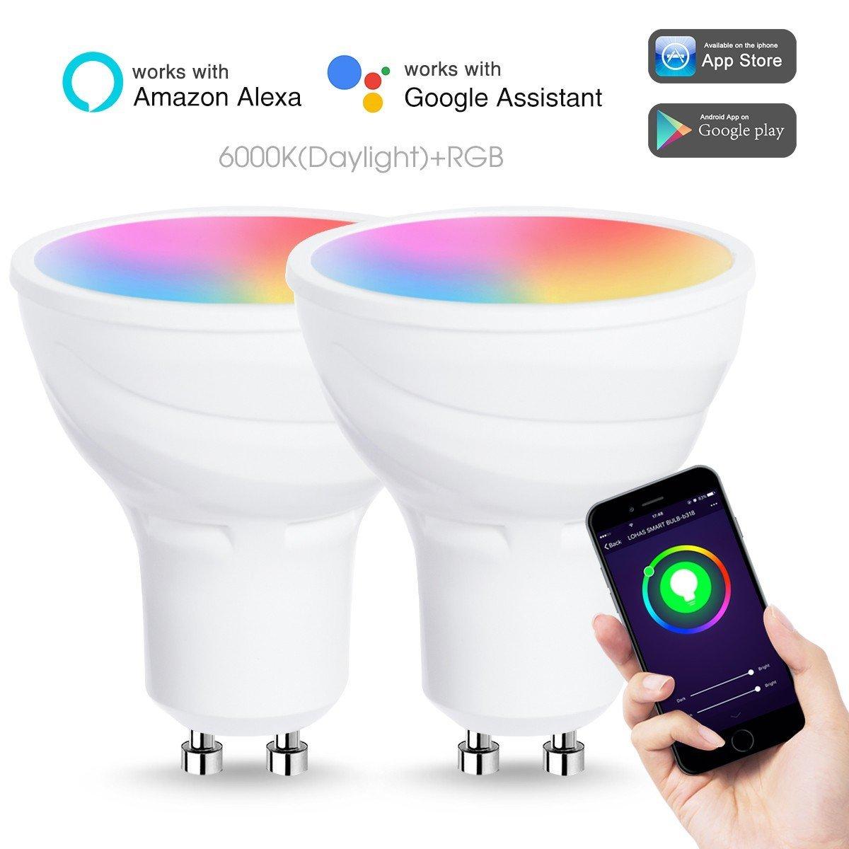 iphone controlled lighting. LOHAS LED Smart Bulbs Wifi GU10 ,Alexa,color Changing Lights, 2 Pack Iphone Controlled Lighting