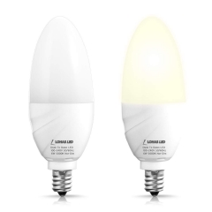 LOHAS LED Candle Light Bulb, Dusk to Dawn Sensor,0.3W E12,Daylight White 5000K