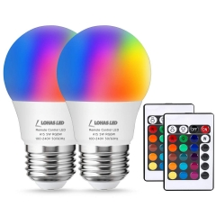 LOHAS LED RGB Bulb Dimmable by Controller,A15 E26 5W,Daylight&Multicolored