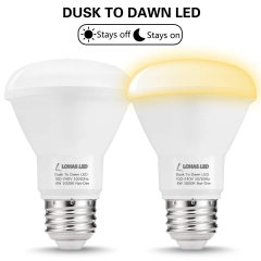 Light Sensor bulb, Dusk-to-Dawn Reflector Light, BR20 E26 6W, Soft White 3000K