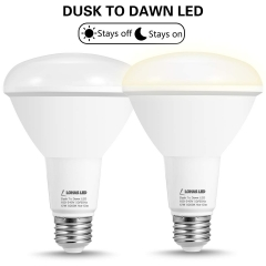 LOHAS Light Sensor bulb, Dusk-to-Dawn Flood Light, BR30 E26 12W, Crystal White 5000K