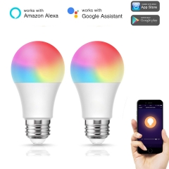 LOHAS LED Smart Bulb Work with Alexa and Google Home, A19 E26 RGB 9000K Tunable White (2 Pack)