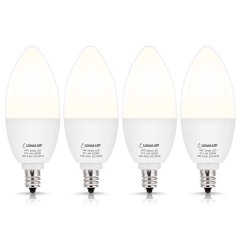LOHAS Smart LED, Compatible with Alexa Google Assistant for Ceiling Fan Lights, E12 Base, 50w, 5000K, Dimmable, 4 Pack