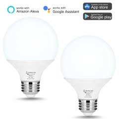 LOHAS Smart LED Bulb, G25 E26 8W 720LM, Dimmable,Daylight 5000K, Alexa, Google Home and Siri Compatible(2Pack)