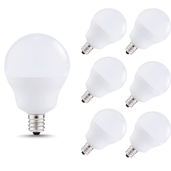 40W Equivalent LED Candelabra Light Bulbs 5W G14 Globe Blubs for Ceiling Fan, Vanity Mirror Light Natural Daylight White 4000K 6 Pack
