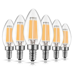 LOHAS Dimmable Filament Vintage Candle Light Bulbs, 6W(60W Equivalent), E12 Candelabra Base, Edison Filament LED Light Bulbs, 6 Pack