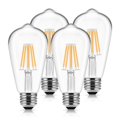 LOHAS ST58 Filament Vintage Light Bulbs, 6W(60W Equivalent), 2700K Warm White, E26 Base Squirrel Cage Filament Light Bulbs suitable for Home Lighting,