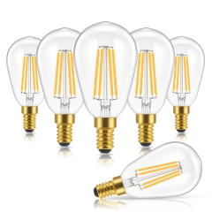 LOHAS Dimmable Filament Vintage Light Bulbs ST48, 4W(40W Equivalent), 2700K Warm White, E12 Base,6 Pack