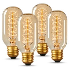 LOHAS T45 Dimmable Filament Vintage Light Bulbs, E26 Medium Base, 40W Spiral Tungsten Filament Vintage Light Bulbs suitable for Home Lighting, 4 Pack.