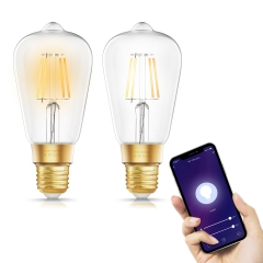 LOHAS WI-FI Smart ST64 Filament Vintage Light Bulbs, 8W(60W Equivalent), Dimmable Tunable White 2200K-6500K, Work with Alexa and Google Home, 2 Pack.