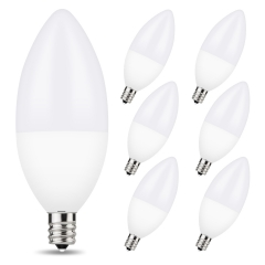 LOHAS LED Candelabra Light Bulbs, Dimmable, 60W Equivalent(6W), 3000K Warm White, E12 Base, Ideal for Chandeliers, Ceiling Fan Lights, 6 Pack