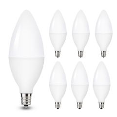 LOHAS LED E12 Candelabra Light Bulbs, 5W (40W Equivalent), Daylight White 5000K, Decorative Bulbs, 450LM, 6 Pack