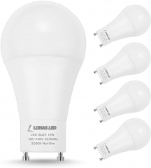 LOHAS GU24 Base Light Bulb, 1200Lumen Daylight 5000K 12Watt, 75W-100W Halogen Light Equivalent A19 Shape for Ceiling Fan, Twist Lock GU24 Base, 4 Pack