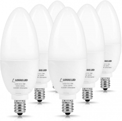 LOHAS E12 Candelabra LED Bulb, Dimmable Daylight Bulb 5000K, LED 6W Ceiling Fan Light Bulbs 60W Equivalent, Candelabra Base 550 Lumens, 6 Pack
