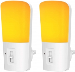 LOHAS Amber Night Light, Dimmable Plug in LED, Yellow Night Light with Dusk to Dawn Sensor, Kids Night Lights for Bedroom, 2 Pack