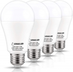 LOHAS A19 LED Bulb 150W Equivalent(UL Listed), 17 Watt Daylight White 5000K LED, 1600 Lumen Energy-Efficient Light Bulb, 4 Pack