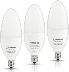 LOHAS E12 LED Candelabra Light Bulbs, 8W LED Chandelier Bulbs, 75 Watt Incandescent Equivalent, 750LM Soft White 3000K, Decorative Candle Base, 3 Pack
