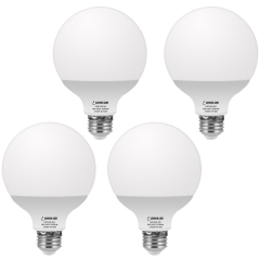 LOHAS LED G25 Globe Bulb 60W Equivalent, Bathroom Vanity Round LED Light Bulb 9W 800LM Warm White 2700K, E26 Base Make up Light, 4 Pack