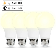 Dusk to Dawn LED Light Bulbs, A19 Light Bulbs, E26 Base, 40W Equivalent(6W), Daylight White 5000K, Auto On and Off, Pack of 4