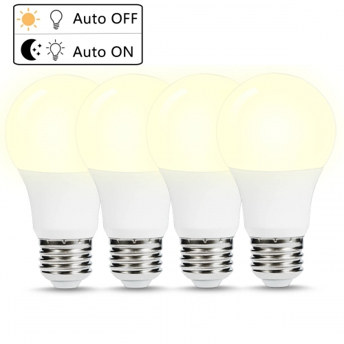 Dusk to Dawn LED Light Bulbs, A19 Light Bulbs, E26 Base, 40W Equivalent(6W), Natural Daylight White 5000K, Auto On and Off, Pack of 4