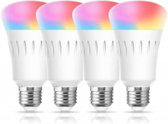 LOHAS Smart Bulb RGB Color Changing Dimmable, A19 WiFi LED Bulb 60W Equivalent, 2700-6000K, E26 Base Work with Alexa Google Home 4 Pack