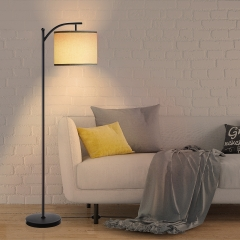 "65"" Modern Mental Floor Lamp with White Fabric Shade, for Living Rooms, Bedrooms and Office"