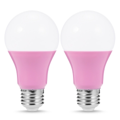 LOHAS A19 Pink LED Light Bulbs, 5W, E26 Base, Party Decoration, Holiday Lighting, Pack of 2