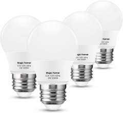Magic Farmer A15 LED Light Bulb, A15 Refrigerator Bulbs, 6W(60W Equivalent), Daylight White 5000K, E26 Base, 600LM, CRI 80+, Non Dimmable, 4Pack